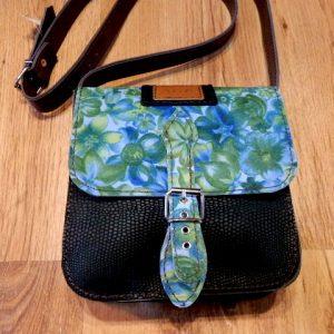 REBAJAS-Bolso verde Cuero Flores