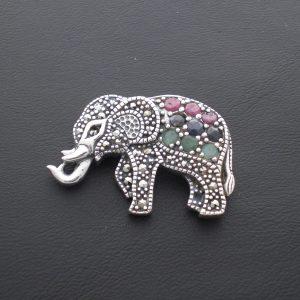 Broche elefante Plata de ley-rubí-zafiro-esmeralda