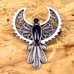 Broche Plata y Azabache ave fénix, águila, pájaro, ángel