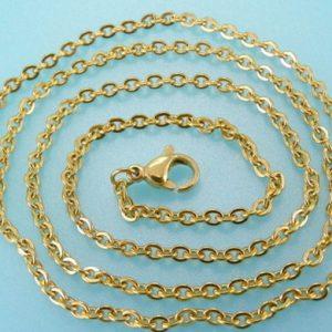 Cadena de Acero y oro 2 mm x 45 cm