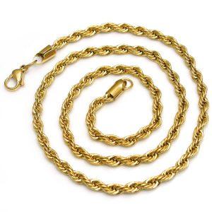 Cadena cordon Acero y oro
