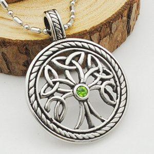 Colgante Acero árbol de la vida celta piedra verde