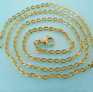 Cadena de Acero y oro 2 mm x 60 cm