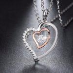Colgante Corazón en plata rodinada y oro rosa con Circonitas
