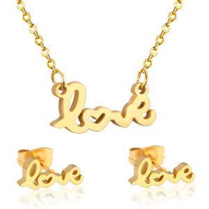 Conjunto Love en Acero Chapado en oro gargantilla y pendientes