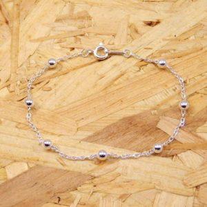 Pulsera plata 925 cadena con bola de 4 mm