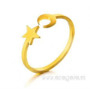 Anillo Estrella Luna Acero y oro
