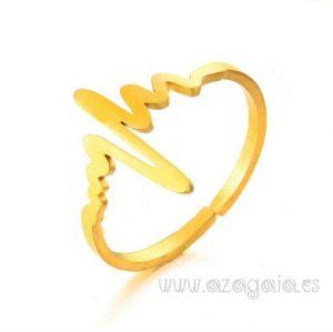 Anillo Latidos Electrocardiograma acero y oro
