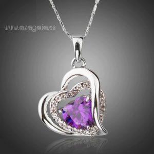 Colgante Corazón con Circonita Púrpura