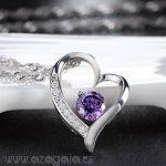 Colgante Corazón chapado en plata rodinada con Circonita Morada