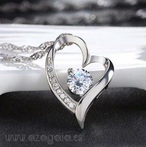 Colgante Corazón chapado en plata rodinada con Circonita