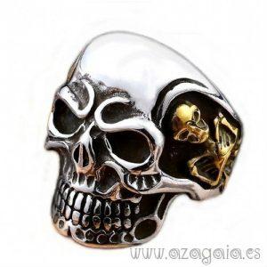Anillo calavera acero esqueleto chapado en oro en los laterales