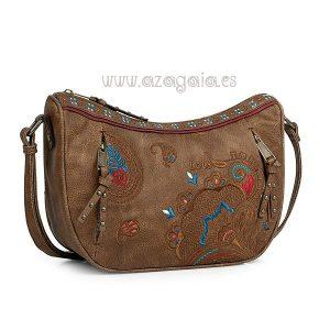 REBAJAS-Bolso Lois bandolera marrón bordado Ref. 30265601