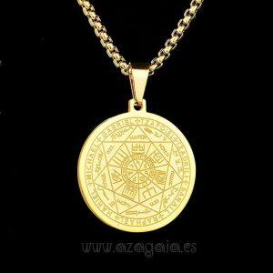 Colgante Protección 7 Arcángeles Sello de Salomón Acero y oro