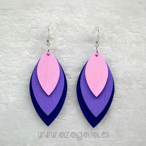 Pendiente Madera 3 Piezas rosa malva azul