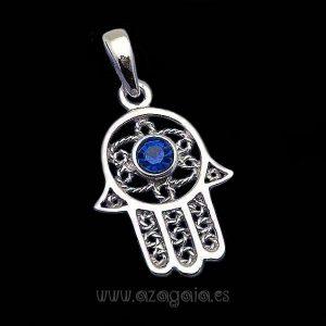 Colgante Mano Fátima Plata de ley-Piedra azul Zafiro-