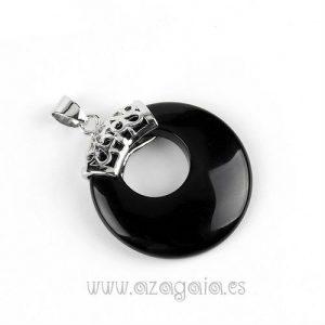 Colgante Piedra Onix Negro-Redondo-