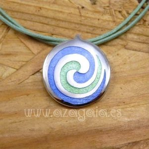 Colgante plata espiral esmalte al fuego