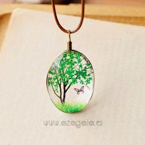 Colgante vidrio árbol de la vida verde