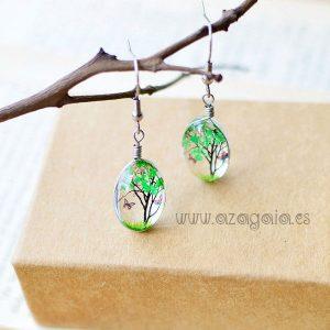 Pendiente vidrio árbol de la vida verde