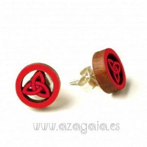 Pendiente madera triqueta roja cierre plata presión