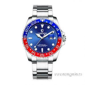 Reloj esfera azul bisel rojo-azul-marca-Chenxi-tipo-Rolex