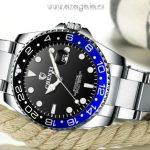 Reloj esfera negra bisel negro-azul-marca-Chenxi-tipo-Rolex
