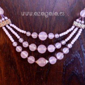 Collar piedra bolas cuarzo rosa