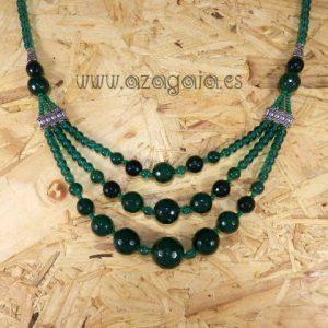 Collar piedra verde jade oscuro