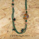 Collar piedras-malaquita-coral-turquesa y resina de ámbar