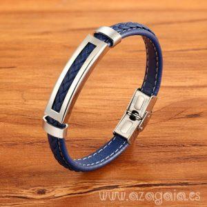 Pulsera acero y cuero azul trenzado