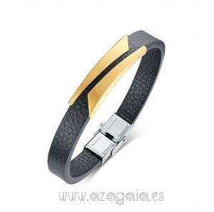 Pulsera cuero acero y oro-diseño en diagonal