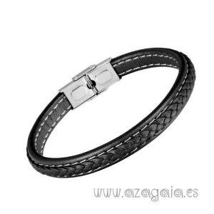 Pulsera cuero trenzado plano color negro costuras blancas cierre acero
