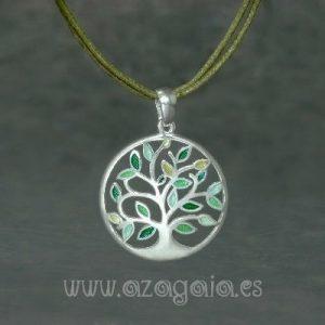 Colgante plata árbol de la vida esmalte verde