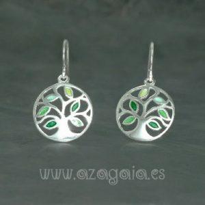 Pendiente plata árbol de la vida esmalte verde