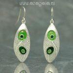 Pendientes plata y esmalte verde alargado
