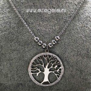 Colgante árbol de la vida acero calado con circonitas blancas