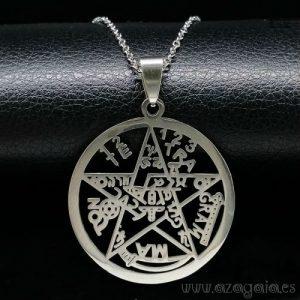 Colgante Tetragrammatom amuleto de protección en acero quirúrgico