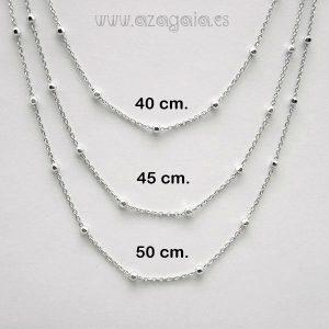 Collar gargantilla plata cadena fina con bolitas de 4 mm