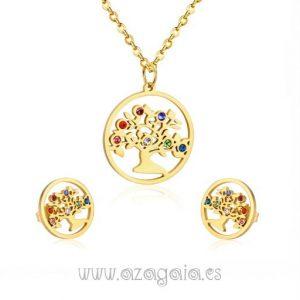 Conjunto árbol vida acero chapado en oro colgante y pendientes con circonitas de colores