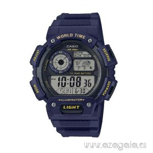 Reloj casio original world time illuminator WR 100m azul marino