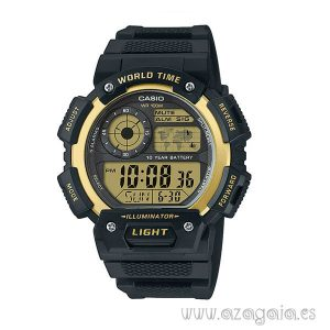 Reloj casio original world time illuminator WR 100m negro-dorado