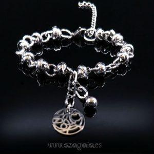 Pulsera acero nudos y anillas con cadena y dije calado