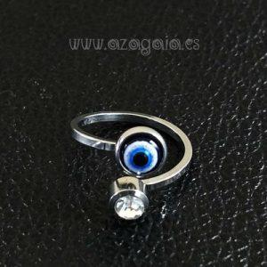 Anillo acero ojo turco cristal de murano