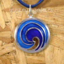 Colgante olas plata y esmalte azul artesanía de galicia