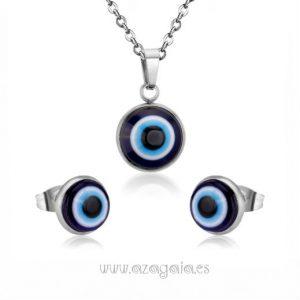 Conjunto acero ojo turco cristal de murano-pendiente y colgante