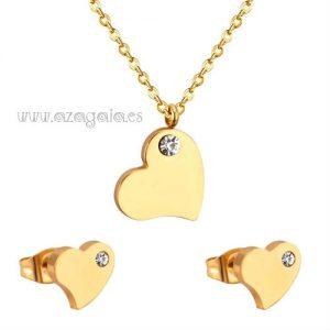Conjunto corazón acero chapado oro con circonita-pendientes y colgante