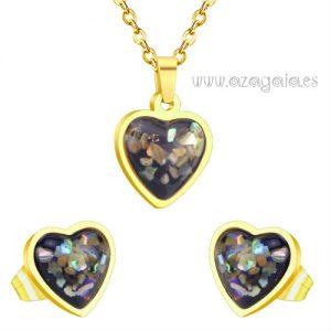 Conjunto corazón negro acero chapado oro-pendiente y colgante