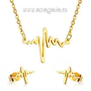 Conjunto gargantilla y pendientes electrocardiograma acero chapado oro