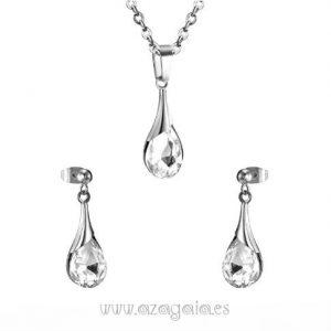 Conjunto lágrima acero con cristal facetado-pendientes y colgante
